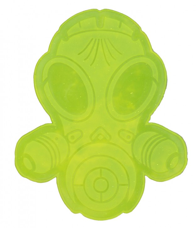 Latexpatch Gasmaske - neon-gelb, klein