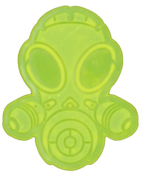 Latexpatch Gasmaske - neon-gelb, groß