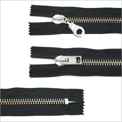 Breiter Metall Reißverschluss, schwarz, 16 cm