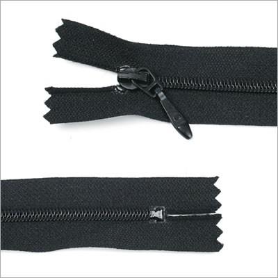 Schmaler Kunststoff Reißverschluss, schwarz, 13 cm