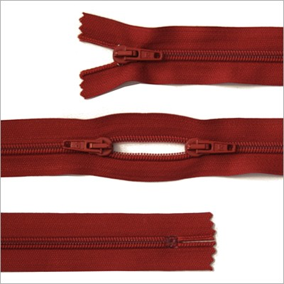 Kunststoff-Reißverschluss, 3 Wege, rot, 115 cm