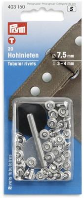 Hohlnieten 3-4 mm silber - 20 Stück