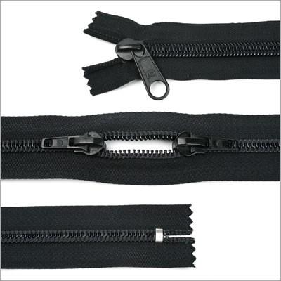 Breiter Kunststoff Reißverschluss, 20cm, Schwarz