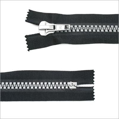Kunststoff Reißverschluss, Alu-Optik, schwarz, 10 cm