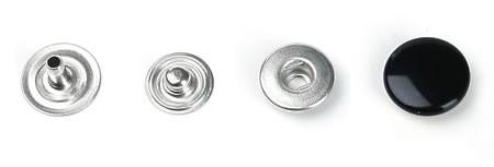 Druckknopf, klein, 11 mm Durchmesser, schwarz
